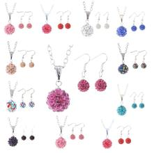 2014 the new fashion design simple spherical crystal rhinestone women earrings necklace set