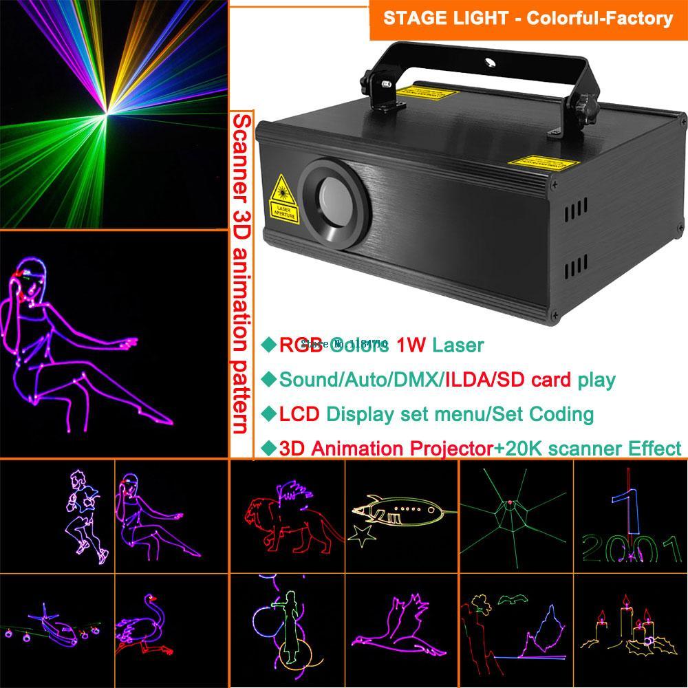 1w RGB laser 3D animation scanner projector ILDA DMX dance bar Xmas Party Disco DJ effect Light stage Lights Show system B132(China (Mainland))