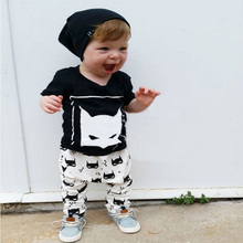 Wholesale Baby Boys Clothing Set Infant Newborn Kids Clothes Set Animal Printed Short Sleeves Cartoon T-shirt+Pants
