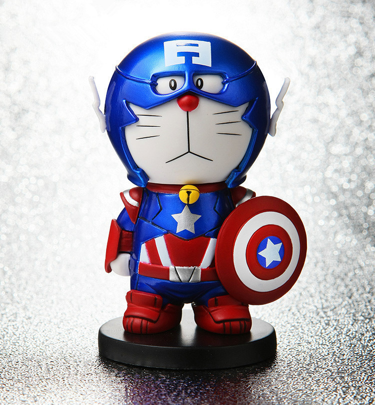 J.G Chen 2015New Captain America 100 Anniversary Doraemon Robotic Hero Action Figure Toy Doraemon Models Gift for Kids(China (Mainland))