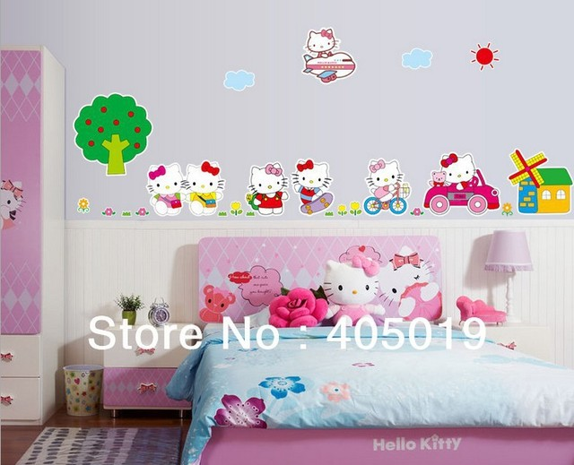 """Giant 200x65cm (79""""x26"""") AY9091 Cartoon Peel Scroll Sticker 1set=7pcs Kitty Mural Wall Stickers for Kids Rooms Decals Mixable"""