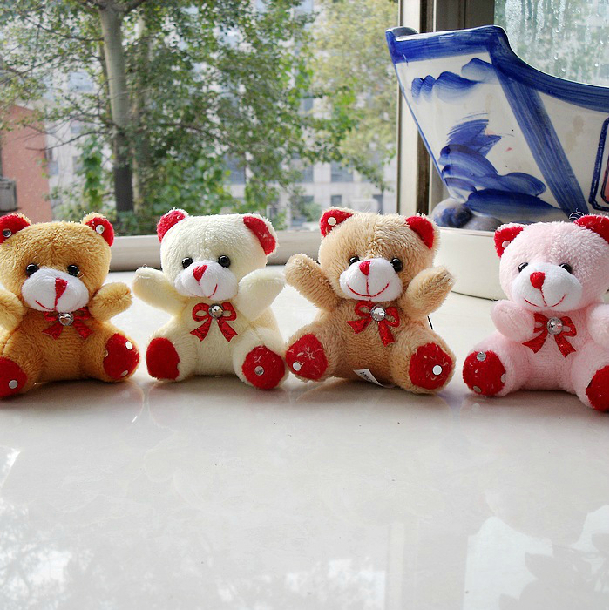 Min.order is $15 (mix order) New Teddy Bear Plush Charms cartoon animal toy dolls wedding small gifts(China (Mainland))