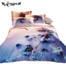 3D Scenic oil painting linens Cotton Twill Fabric 4pc bedding set Queen double size Duvet/quilt cover bed sheet Pillow sham sets(China (Mainland))