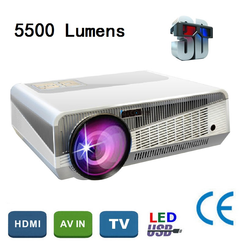 Free Shipping Top Quality 5500Lumens Home Theater Projector 3D LED 1080P HD LCD TV Proyectors With Digital TV Tuner(China (Mainland))