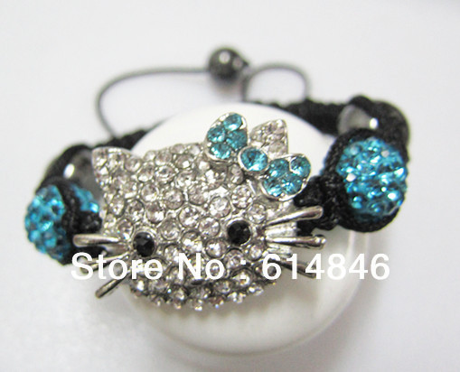 Factory Price DIY Handmade Colourful Crystal Beads Woven Rope Hello Kitty Shamb