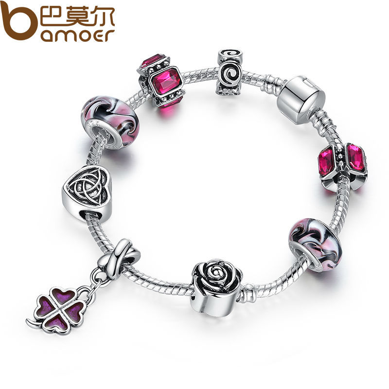 Original 925 Silver Four Leaf Clover Charm Fit Pandora Bracelet with Purple Beads for Women Authentic Jewelry PA1436(China (Mainland))