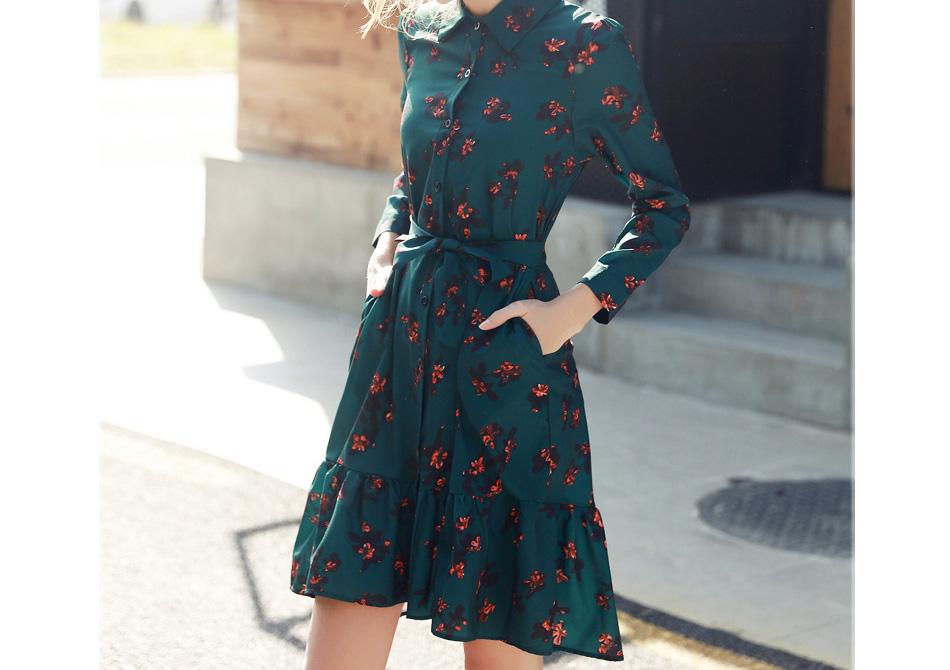 Quintina New Fashion Printed Women Dress Knee-Length Bohemian Lady Dress Vestidos Women Clothing Spring Vintage Dress