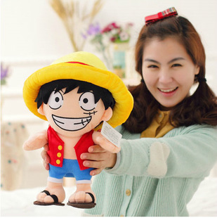 anime figure stuffed Animal ONE PIECE wear yellow hat luffy plush soft toy doll for baby boy birthday gift children's day(China (Mainland))