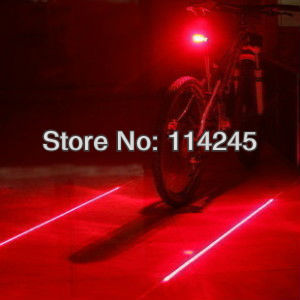 Bike Light Bicycle Laser Tail Light (5 LED+2 Laser) Water Resistant 7 Modes Mountain Bike Accessories Safety Back Rear Led Light