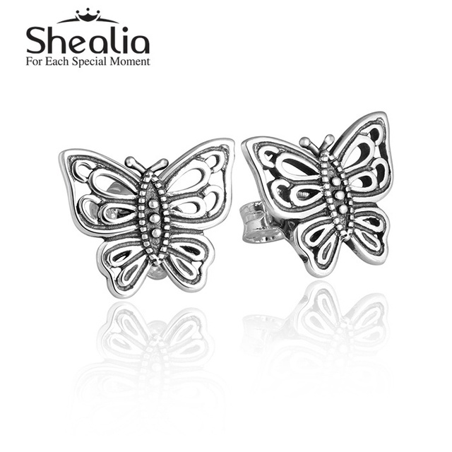 Новый бабочка серьги стержня античная подлинная стерлингового серебра 925 уха пен животных серьги для женщин DIY SHEALIA ювелирные изделия ER348