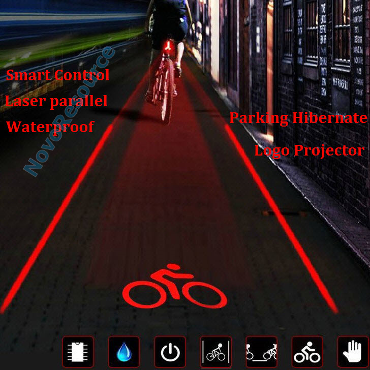 New Bicycle Tail Lights Outdoor Sports 5 LED laser light Logo,Super Cool Smart Cycling Bike Accessories Logo Version(China (Mainland))