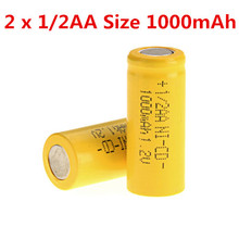 2PCS 1/2AA Size 1000mAh 1.2V NI-CD Rechargeable Battery Flat Top Cell - Yellow Free shipping(China (Mainland))