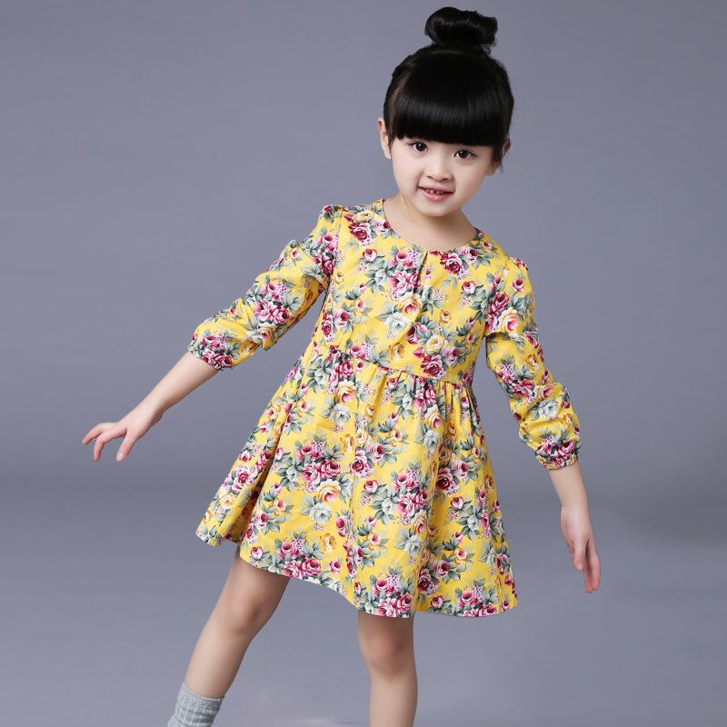 New 2016 Kids Girls Floral Casual Dresses Long Sleeves Princess Dress Kids Spring Summer Printed Dresses 5pcs/lot Wholesales<br><br>Aliexpress
