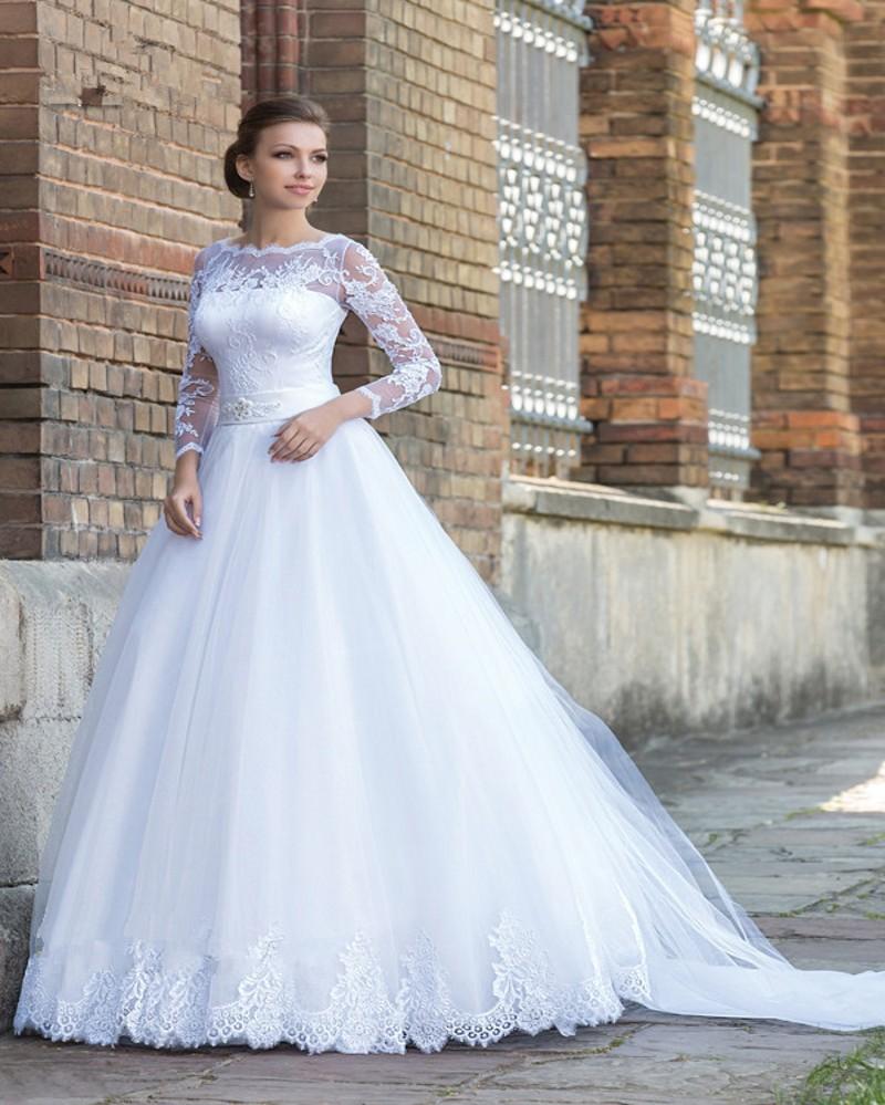 Arabic Long Sleeve Lace Matte Satin Ball Gown Muslim Wedding Dress muslim wedding dresses