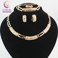 African Beads Jewelry Sets Charming Dubai Gold Plated Crystal Trendy Classic Designs Costume Jewelry Set And