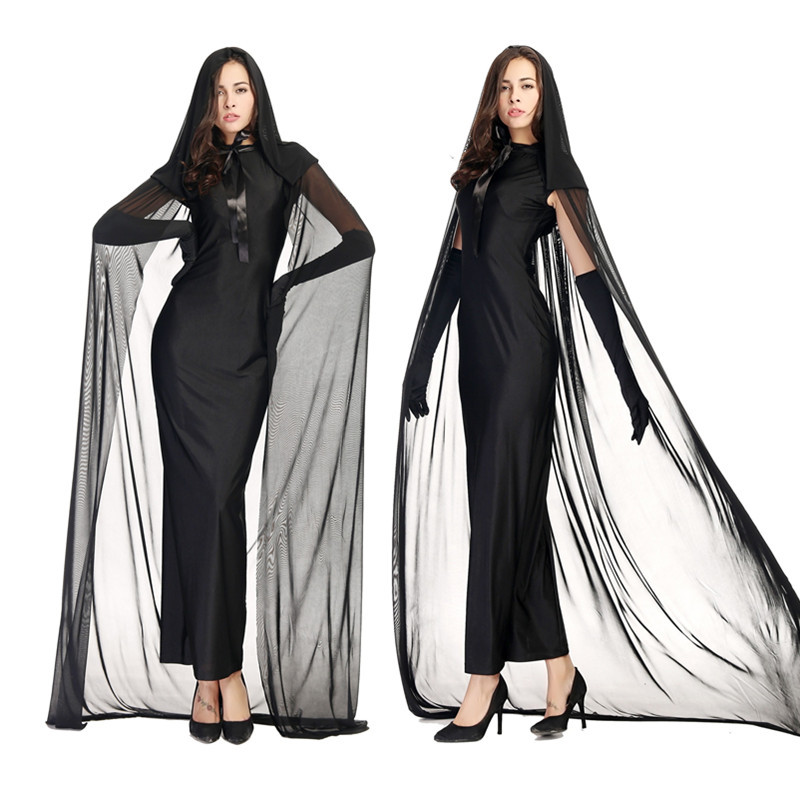 Mythology Black Ghost Cosplay Women Horror Holiday Role Play Prom Shows Witch Costumes Sexy Dresses Set Humor Game Apparel M/XL(China (Mainland))