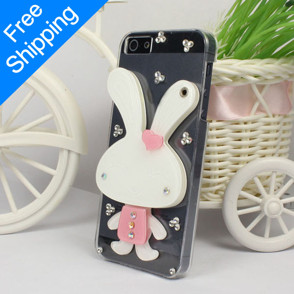 Fashion Lovely Cute Gift 3D Rabbit Hard Protective Back Case Cover Mirror iphone 5 5G 5th Pink Freeshipping - ShenZhen HongTai Electronics CO.,LTD store