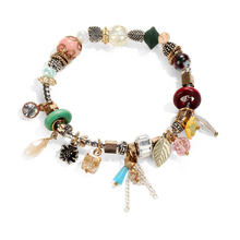 IF ME Vintage Bohemia Starfish Multicolor Beads Bracelets For Women 3Colors Geometric Leaf Stone Crystal Pendant Bracelet Gifts(China)