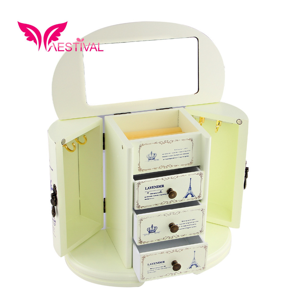 2015 New Arrival,Jewelry Brand Butterfly Flower Pattern Wooden Large Jewelry Box Closet with Fashion Overlay Free Shipping(China (Mainland))