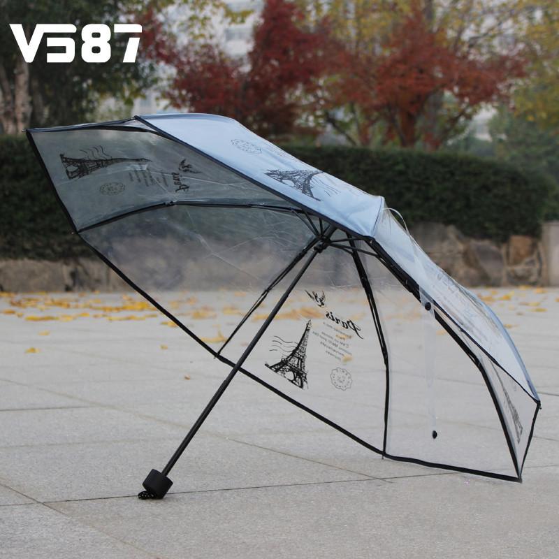 Eiffel Tower Three Fold Umbrella Transparent Sun Rain Umbrellas Three Color Rain Tools Woman White Black Two Color(China (Mainland))