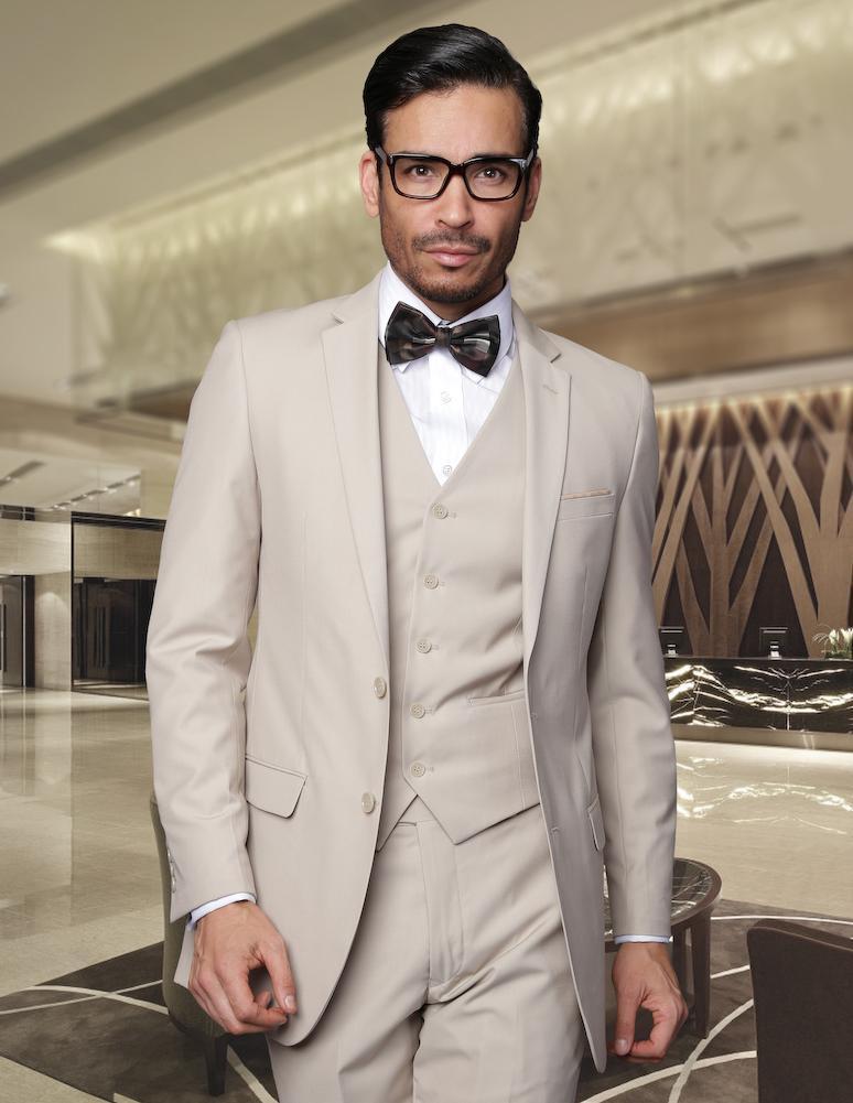 Nueva llegada del novio esmoquin Beige padrinos de Notch solapa trajes de boda / cena novio mejor hombre novio ( Jacket + Pants + Tie + Vest ) B534(China (Mainland))