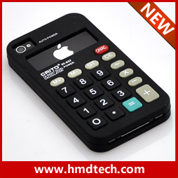 FREE SHIPPING 1 PCS Retail wholesale 2013 black Calculator  silicone mobile phone case for iphone 4