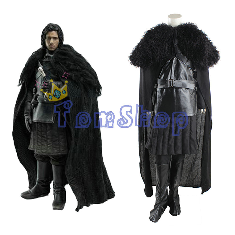 Game of Thrones Jon Snow Cosplay Suit Full Set Men's Halloween Fancy Party Costumes Outfits(China (Mainland))