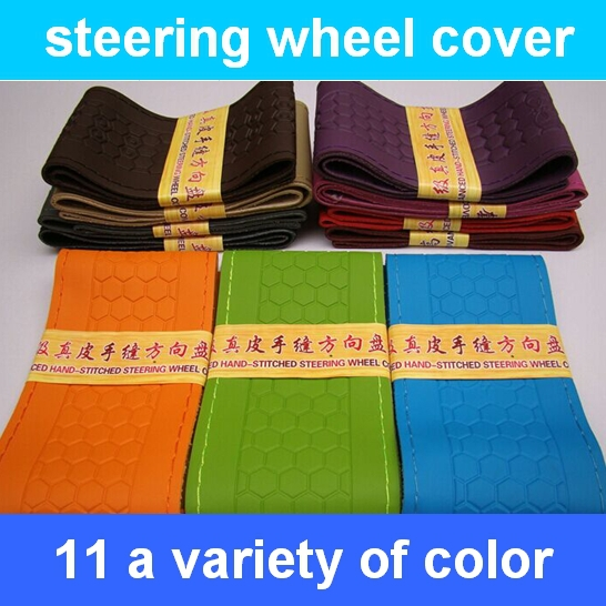 Free shipping 1pcs DIY Genuine Leather Cowhide Car Steering Wheel Cover With Needles and Thread Red 2015(China (Mainland))