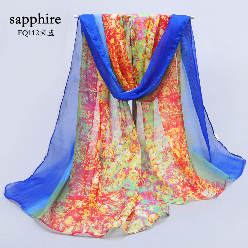 Silk scarf female 2015 fashion print chiffon silk scarf summer sun cape multi-purpose chiffon scarf(China (Mainland))