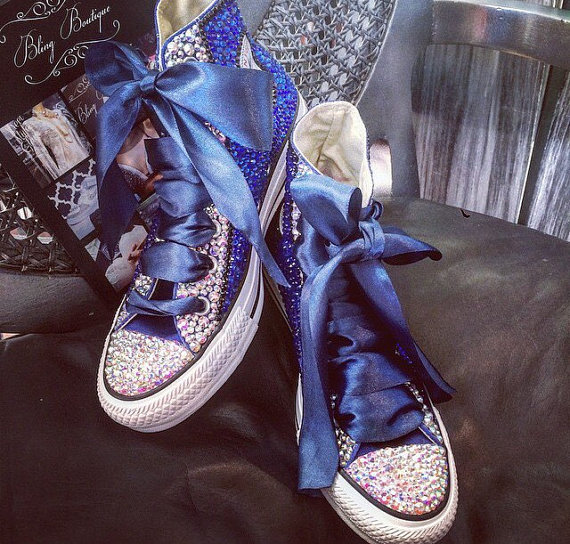 Gorgeous Customized Gem Beading Shoes Sparkle Blue Starry Sky Glossy Satin Ribbons Lace up Creative Handmade Canvas Shoes от Aliexpress INT