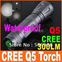 Supper Bright 300 Lumens CREE Q5 LED 5-Modes Outdoor Camping Lamp Torch Flashlight, 5pcs/lot, Free Shipping(China (Mainland))