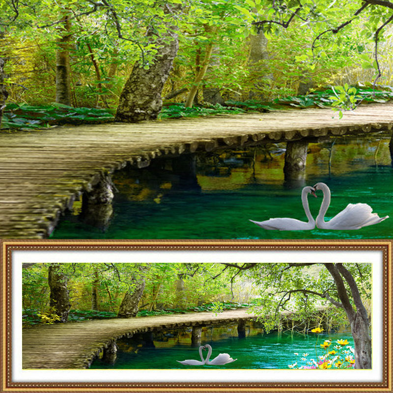 Spring Landscape White Swan DIY 5D Full DIY Round Diamond Painting Mosaics Cross Stitch Embroidery Kit Stones Painting Craft(China (Mainland))