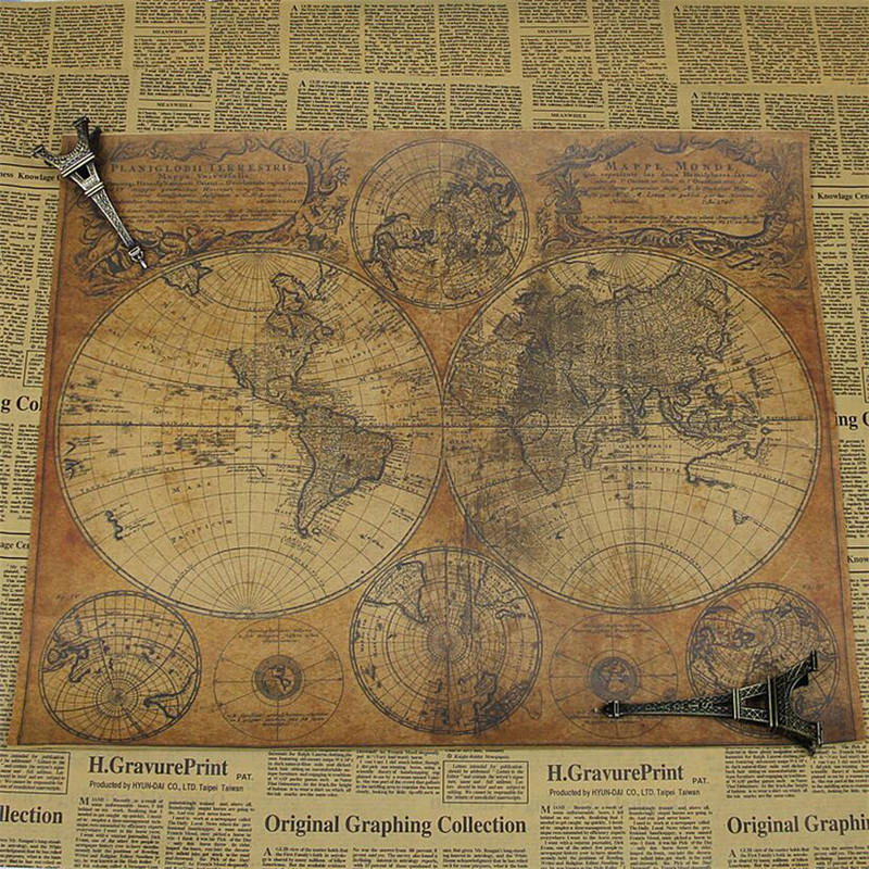 Large Size Vintage Kraft Paper Retro 1746 World Map Poster Matte Brown Paper