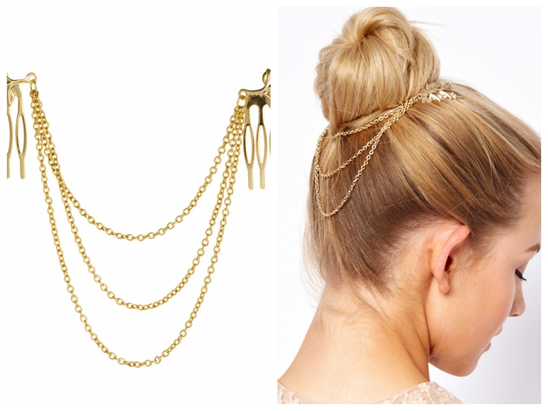 cheap-fine Vintage Hair Accessories Double Gold Chain With Leaf Comb Head New Headbands For Women Girl Lady(China (Mainland))