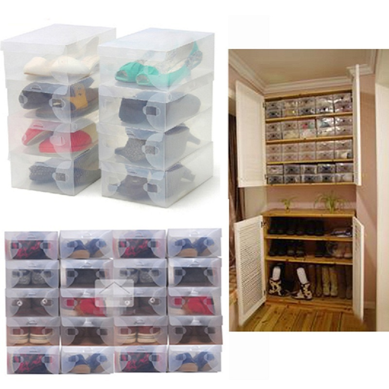 2015 High Quality 10pcs/lot Foldable Plastic Shoe Storage Case Boxes Stackable Organizer Shoe Holder Easy DIY Free Shipping(China (Mainland))