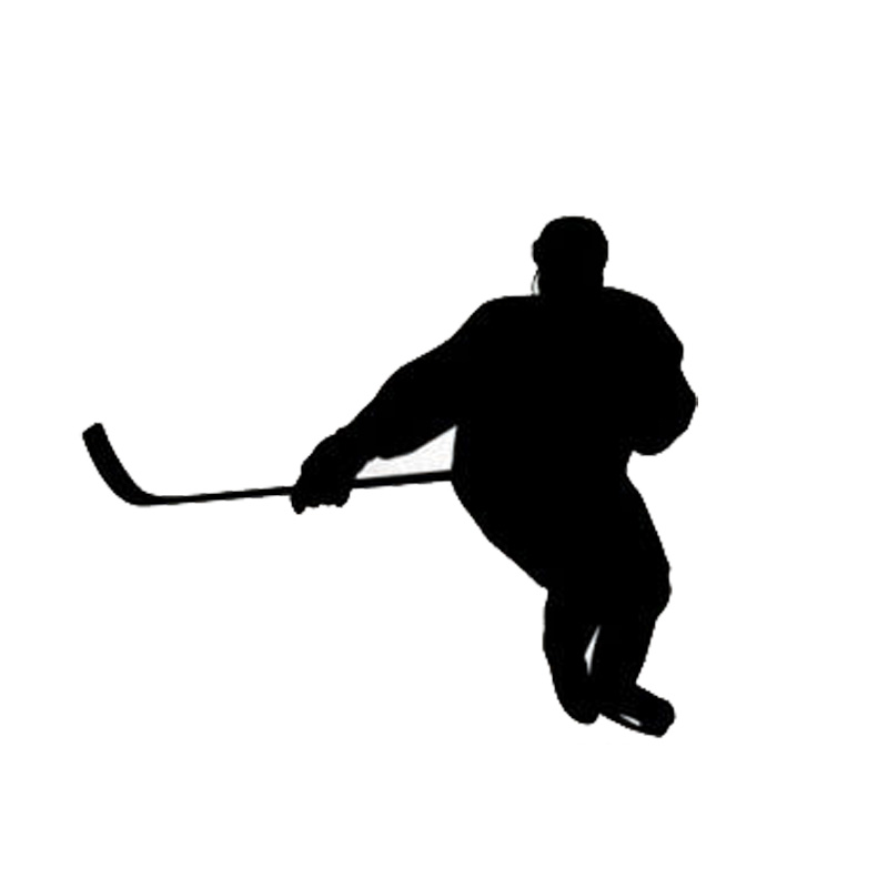 14.7*12.6CM Reflective Vinyl Car Decals Styling Hockey Player Of Car Stickers Black/Silver C7-0097(China (Mainland))