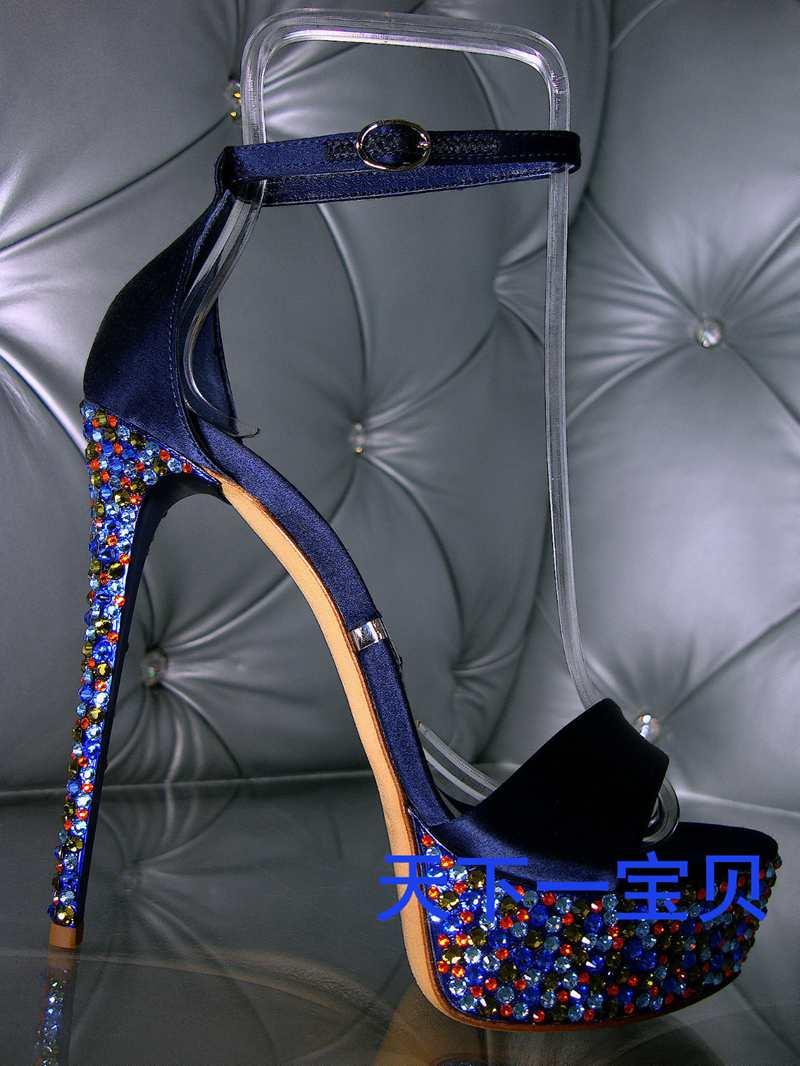 Fashion Womens Royal Blue Sandals 12CM high heels Stiletto Crystal Pumps Buckle Strap Platform Pumps Party Shoes Sexy Design<br><br>Aliexpress