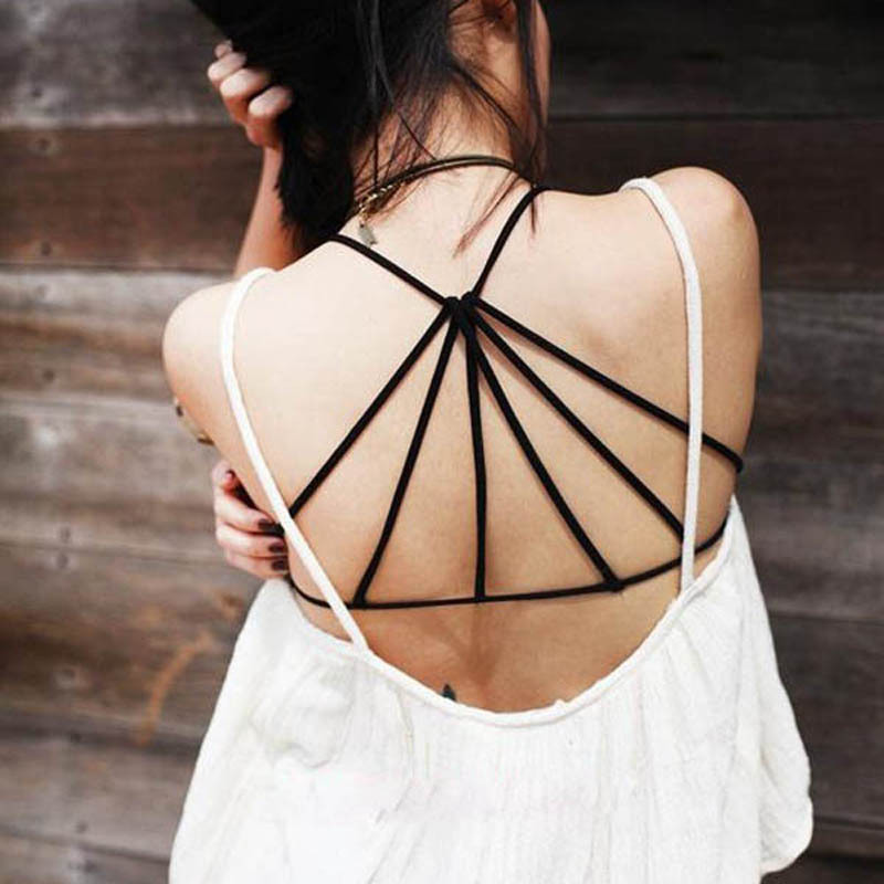 H&Q 1 Pcs Women Brand Padded Bra Blusas Sexy Strap Crop Top Blouse Summer Beach Caged Back Cut Out Cropped Tops Beach Tank02-083(China (Mainland))