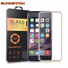SUNDATOM 3D Cover Curved Edge Titanium Screen Protector Tempered Glass For iPhone 6 6S iPhone6 iPhone6S Full Coverage Protection