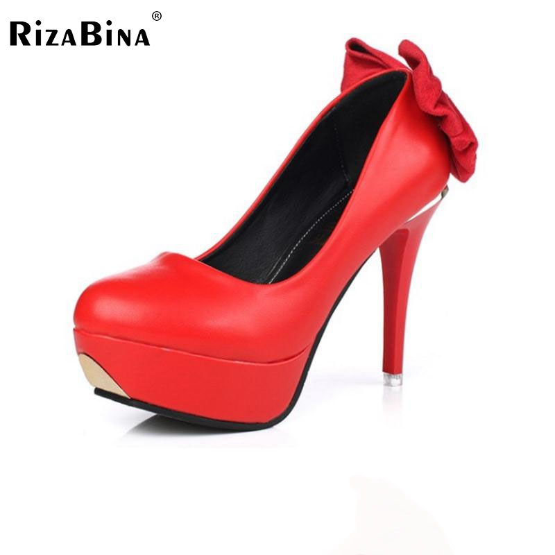 Lady High Heel Shoes Round Toe Pumps Bowtie Pure Color Thin Heels Shoes Women Fashion Platform Female Daily Footwear Size 34-39