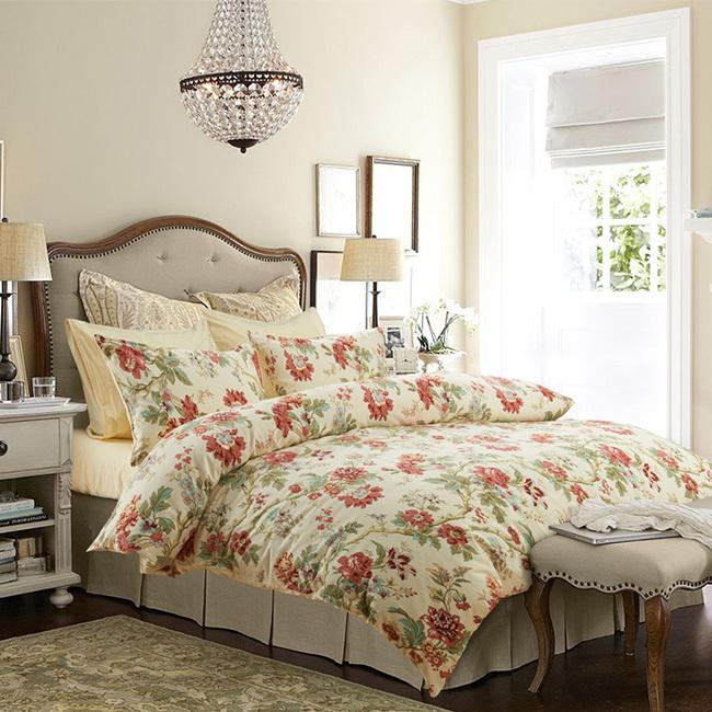 Wholesale dropship 2015 Home Textile 100% cotton beige flower print beddings set US 4 pcs bed sheet/duvet cover set king/queen(China (Mainland))