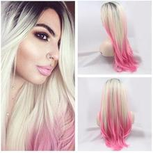 Buy Hot sales!2T pink grey ombre wigs natural silky straight wig synthetic cosplay lace front wig heat resistant Synthetic Hair for $46.00 in AliExpress store