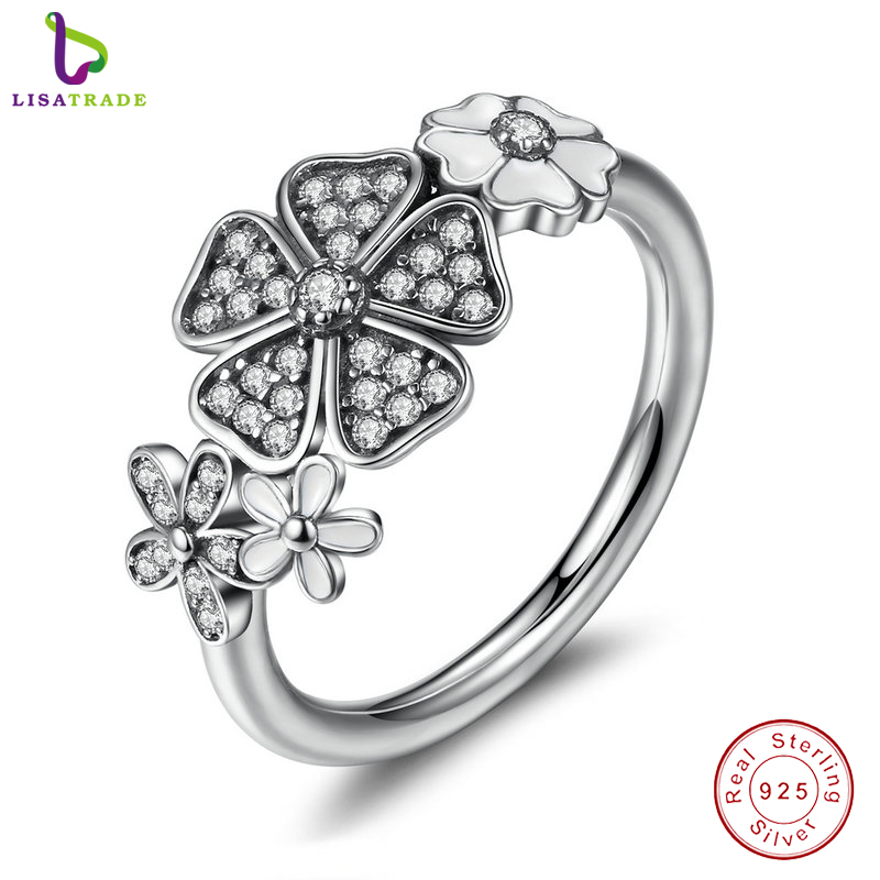 2017 New 925 Sterling Silver Shimmering Bouquet, White Enamel & Clear CZ Flower Finger Rings for Women Wedding Gift PA7176(China (Mainland))