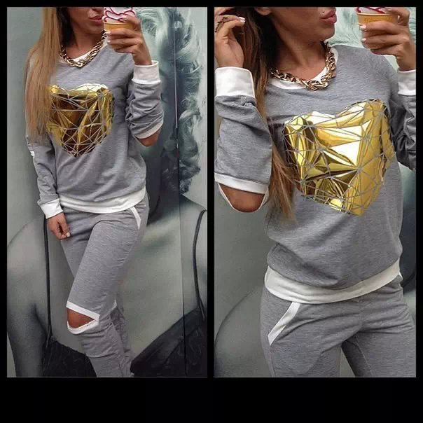woman's tracksuit brand sweatshirt+pants one set woman's clothing gray sports suit golden heart tracksuits ports costumes(China (Mainland))