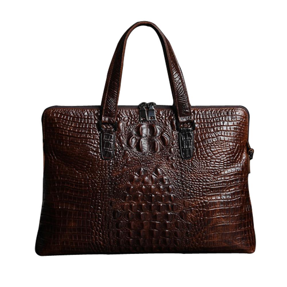 2015 Hot Men's Genuine Leather Bags Luxury Cowhide Alligator Tote Bag Business Messenger Vintage Oil Wax Handbag WCS0095 - YIWU LIZHI Store store