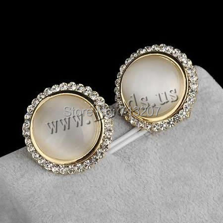 Free shipping!!!Zinc Alloy Stud Earring,korean, with Cats Eye, stainless steel earring post and Omega clip, Flat Round<br><br>Aliexpress