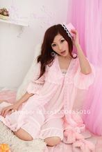 Sweet sexy female sleepwear lingerie lace flounces silk robe + pink two piece RED/BLUE SW004(China (Mainland))