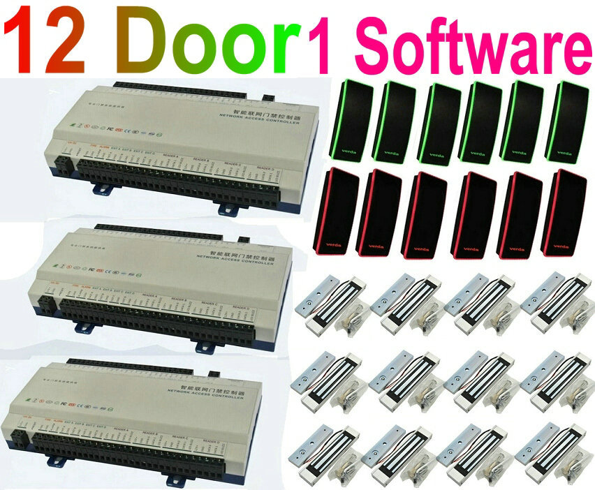 12 Door Webserver Remote IP Control Full Kit Door Access ControllerPanel Board+12pc RFID Card Readers+12pcsMagnetic Lock+1 softw(China (Mainland))