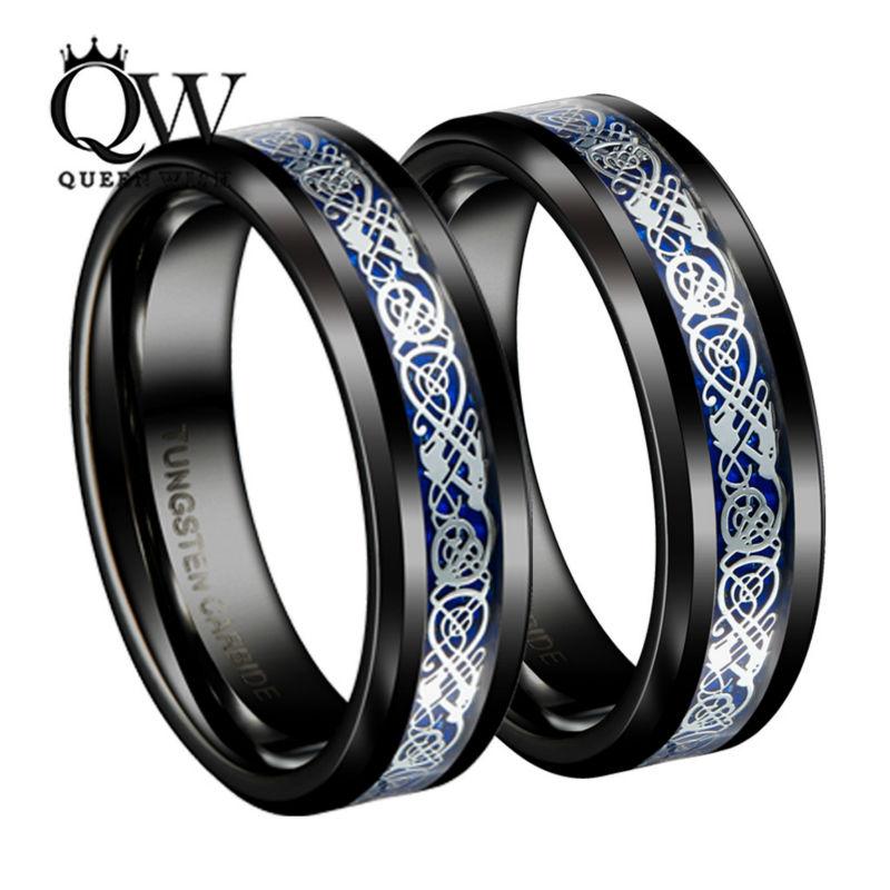 Queenwish Dropshopping 8mm 6mm Irish Claddagh Celtic Dragon Tungsten Wedding Bands Eternity