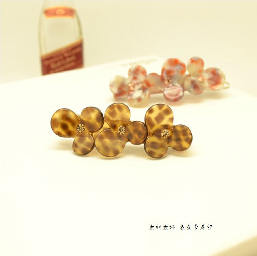 Free shipping French Cellulose crystal hair clip tige boule leopard print hair accessory acetate barrette(China (Mainland))